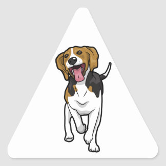 Happy Beagle Triangle Sticker