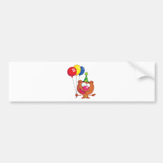 Happy Bear in party hat with balloons Bumper Sticker