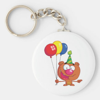 Happy Bear in party hat with balloons Keychain