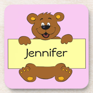 Happy bear name banner cartoon pink girl drink coaster