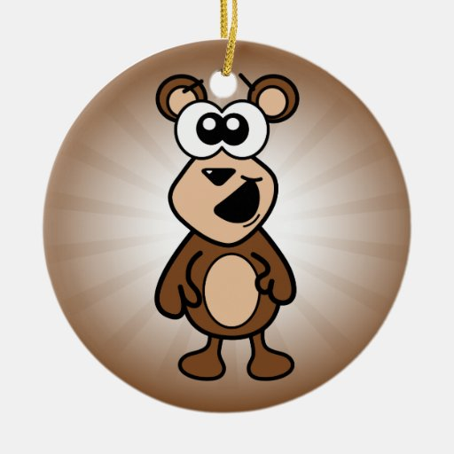 Happy Bear Double-Sided Ceramic Round Christmas Ornament