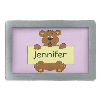 Happy bear with customizable banner cartoon belt buckle