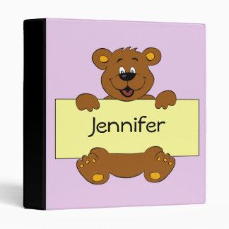 Happy bear with customizable banner cartoon girls binder