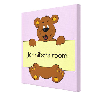 Happy bear with customizable banner cartoon girls canvas print