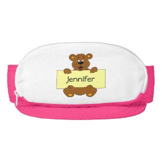 Happy bear with customizable banner cartoon girls visor