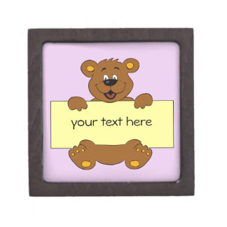 Happy bear with customizable banner cartoon kids jewelry box