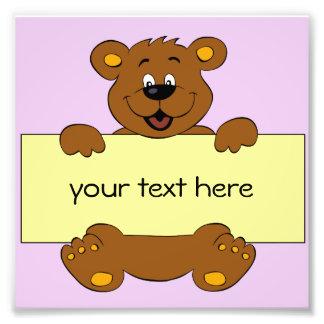 Happy bear with customizable banner cartoon kids photo print