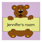 Happy bear with customizable banner cartoon kids poster