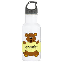 Happy bear with customizable banner cartoon kids stainless steel water bottle