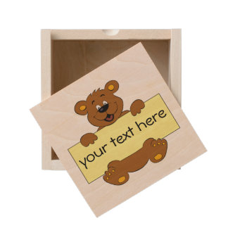 Happy bear with customizable banner cartoon kids wooden keepsake box