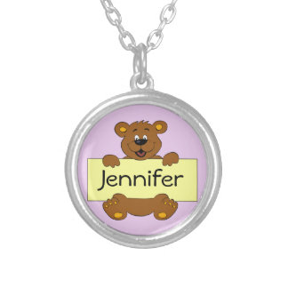 Happy bear with customizable banner cartoon round pendant necklace