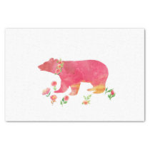 Happy bear with flowers tissue paper