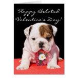 Happy beated Valentine's Day bulldog puppy card