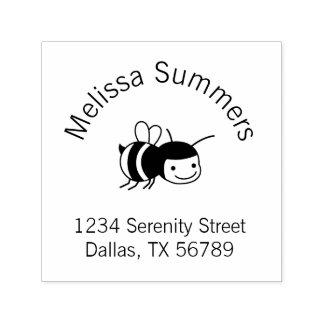 Happy Bee Address Self-inking Stamp