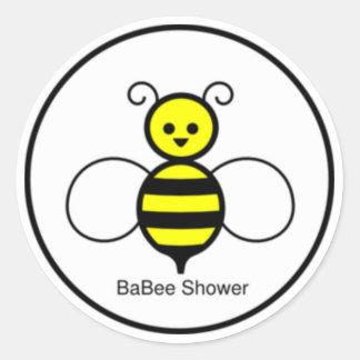 Happy Bee Baby Shower Classic Round Sticker