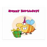 Happy Bee Carries Gift Postcard