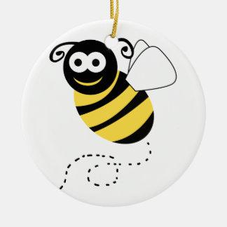 Happy Bee Clipart Ceramic Ornament