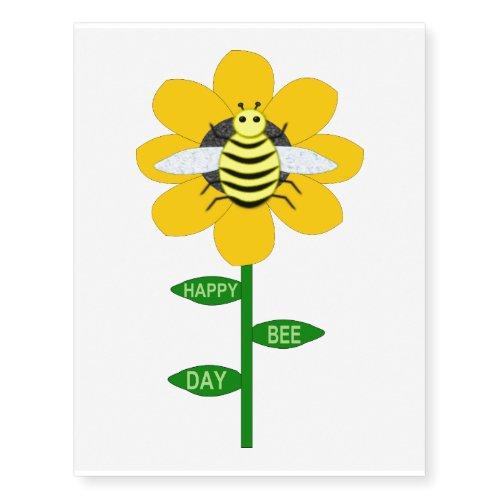 Happy Bee Day Birthday Bumblebee Temporary Tattoos