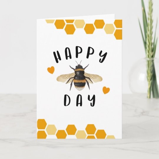 Rustic Natural Bumble Bee Bday Gift Personalised Happy BEE-DAY Birthday Card