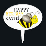 "Happy Bee Day Personalized Bumblebee Birthday Cake Topper<br><div class=""desc"">Features an original marker illustration of a black-and-yellow striped cartoon bumblebee. Simply personalize with the name for a one-of-a-kind birthday cupcake topper!</div>"
