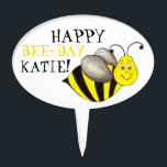 """Happy Bee Day Personalized Bumblebee Birthday Cake Topper<br><div class=""""desc"""">Features an original marker illustration of a black-and-yellow striped cartoon bumblebee. Simply personalize with the name for a one-of-a-kind birthday cupcake topper!</div>"""