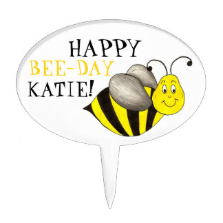 Happy Bee Day Personalized Bumblebee Birthday Cake Topper