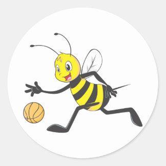 Happy Bee Dribbling Classic Round Sticker