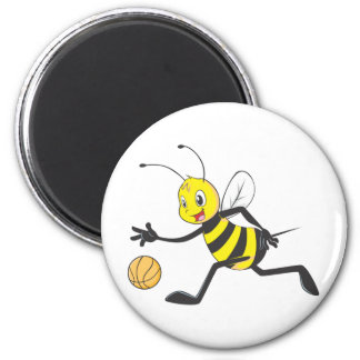 Happy Bee Dribbling 2 Inch Round Magnet