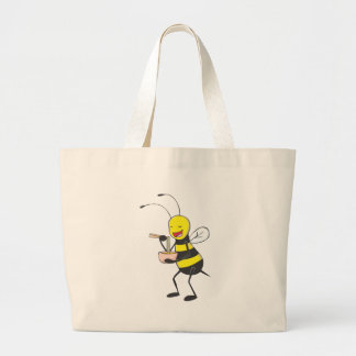 Happy Bee Eating Noodles Large Tote Bag