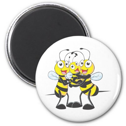 Happy Bee Family 2 Inch Round Magnet