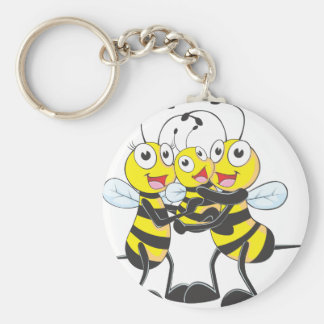 Happy Bee Family Basic Round Button Keychain