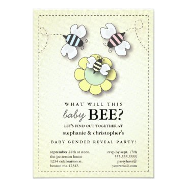 Toddler & Baby themed Happy Bee Family Couples Baby Gender Reveal Party Card