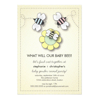 Happy Bee Family Couples Baby Gender Reveal Party Personalized Invite
