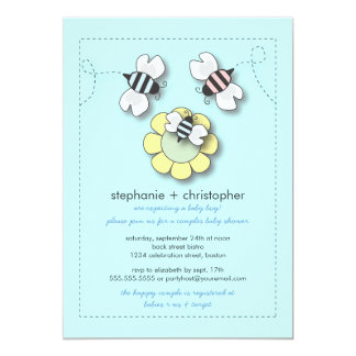Happy Bee Family Couples Baby Shower for Boy Card