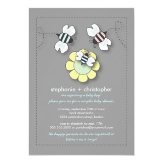 Happy Bee Family Couples Baby Shower for Boy 5x7 Paper Invitation Card