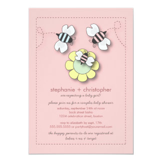 happy bee family couples baby shower for girl card
