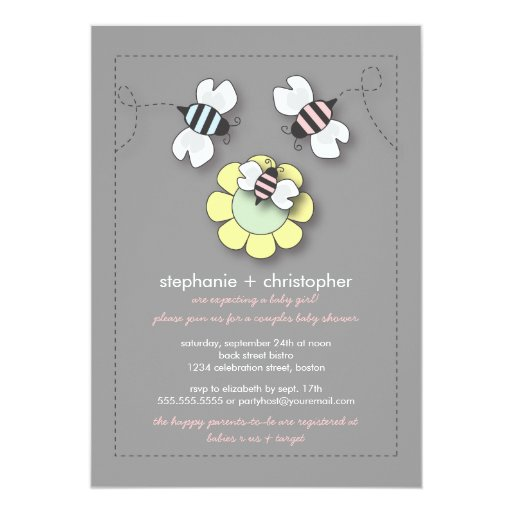 happy bee family couples baby shower for girl personalized invitation