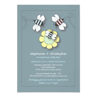 Happy Bee Family Couples Baby Shower Invitation