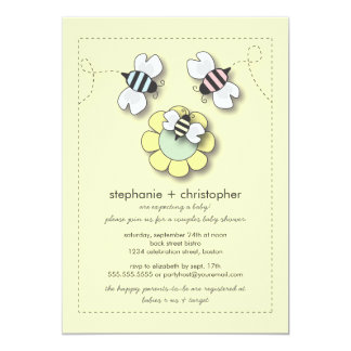 Happy Bee Family Couples Neutral Baby Shower Card