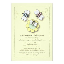 Happy Bee Family Couples Neutral Baby Shower Invitation
