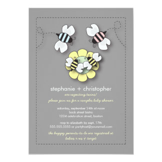 Happy Bee Family Couples Twins Baby Shower 5x7 Paper Invitation Card
