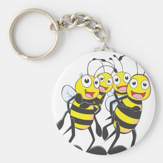 Happy Bee Family Having Fun Together Keychain