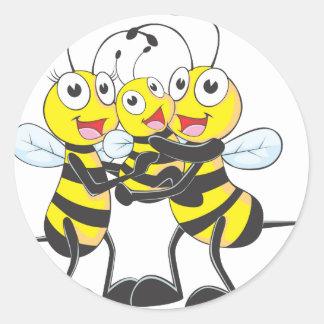 Happy Bee Family Round Stickers