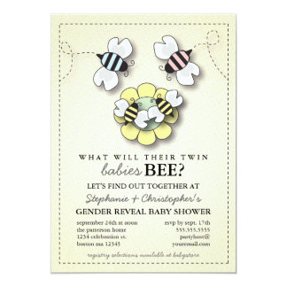 Happy Bee Family Twins Gender Reveal Baby Shower Card