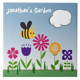 Happy Bee Flower Garden Blue Personalized Ceramic Tile