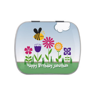 Happy Bee Flower Garden Personalized Jelly Belly Tin