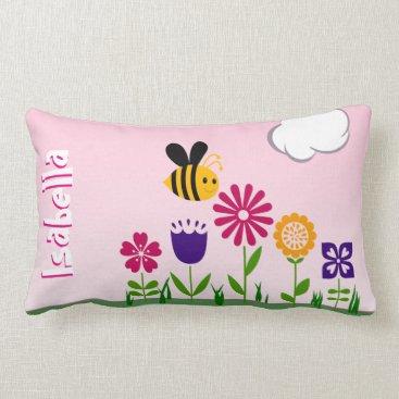 ArtByApril Happy Bee Flower Garden Personalized Lumbar Pillow