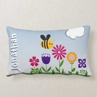 Happy Bee Flower Garden Personalized Throw Pillows