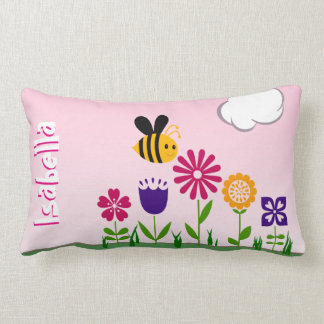 Happy Bee Flower Garden Personalized Throw Pillow