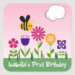 Happy Bee Flower Garden Personalized Square Sticker